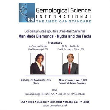 Gemological Science International presents – Managing the Challenge of Man-Made Diamonds at Dubai DMCC