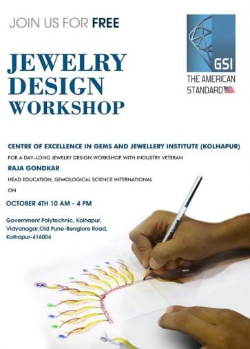 GSI To Host Day — Long Jewelry Design Workshop at Center Of Excellence Gem & Jewelry Institute Kolhapur
